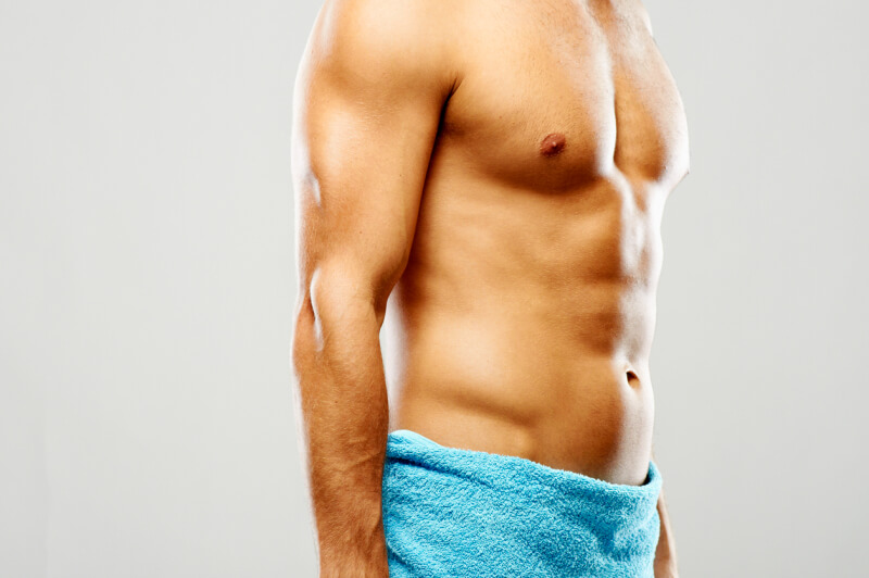 Muscular shirtless male body part